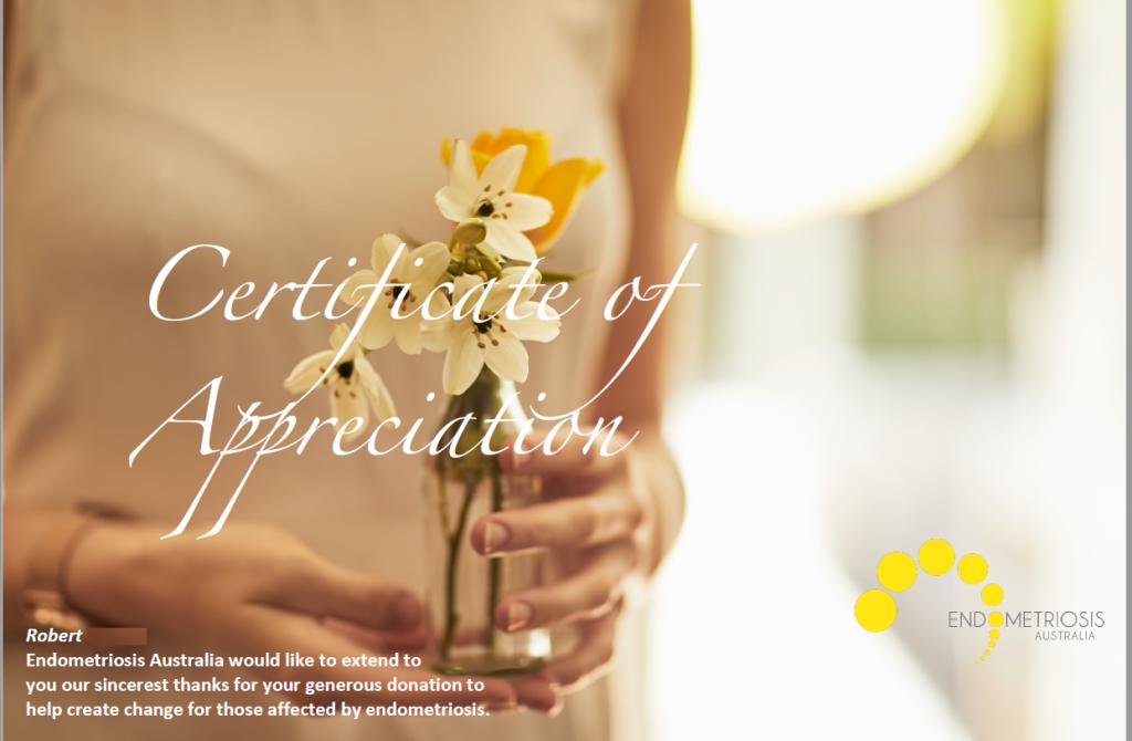 Certificate of Appreciation Robert Endometriosis 25-1-21